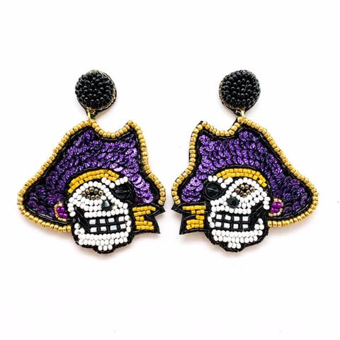 Purple/Gold Pirate Earrings