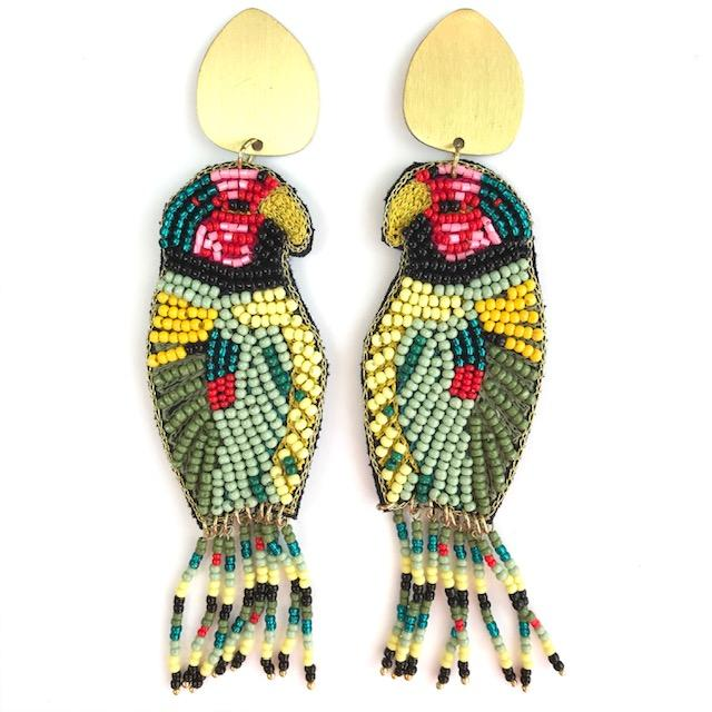Multi Beaded Parrot Earrings