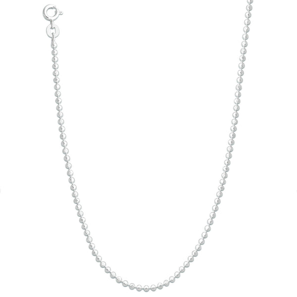 Taraash 925 Sterling Silver Diamond-Cut Bead Ball Chain For Women ABC2006C18IN