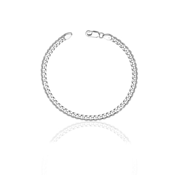 Taraash 925 Sterling Curb Chain Silver Men Bracelet