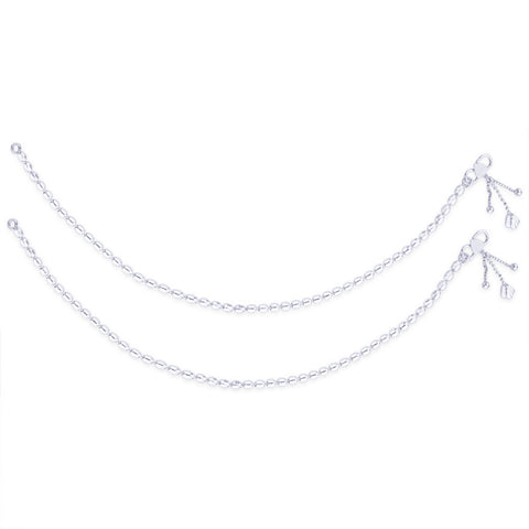 Taraash Single Line Plain Ball Ending with Charm 925 Silver Anklet For Women AN0523S