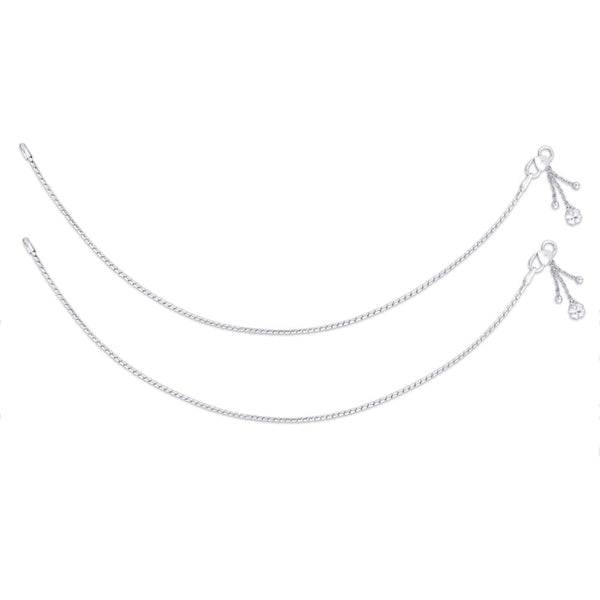 Taraash Single Line Plain Ending with Charm 925 Sterling Silver Anklet For Women AN0532S