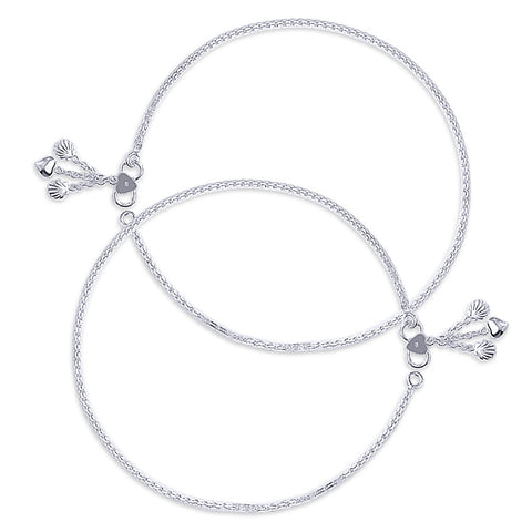 Taraash Single Line Plain Ending with Shell & Heart Charm 925 Silver Anklet For Women AN0534S