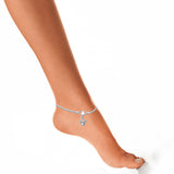 Taraash Single Line Plain Ending with Floral Charm 925 Silver Anklet For Women AN0538S