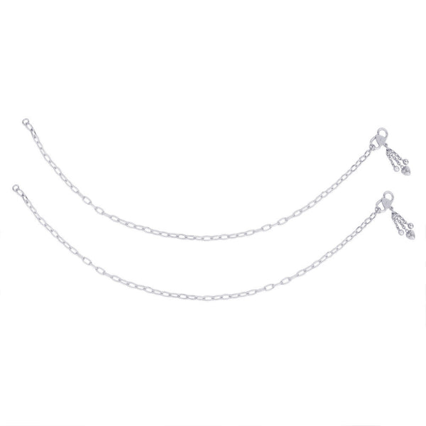 Taraash Single Line Plain Ending with Heart Charm 925 Silver Anklet For Women AN0541S