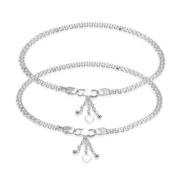Taraash Fancy Dangling Heart Charm Sterling Silver Anklet For Women AN0547S