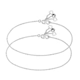 Taraash Single Line Ball Ending with Heart Charm 925 Sterling Silver Anklet For Women AN0555S