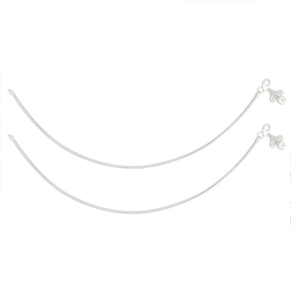 Taraash Single Line Plain Ending with Floral Charm 925 Silver Anklet For Women AN0557S