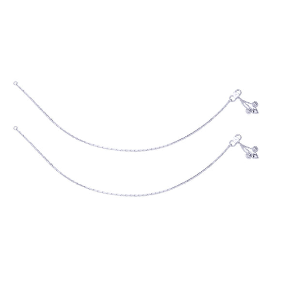 Taraash Single Line Cutwork Ending with Charm 925 Silver Anklet For Women AN0564S