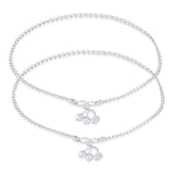 Taraash 925 Sterling Silver Wheat Chain Ending With Charm Anklet For Women AN0565S