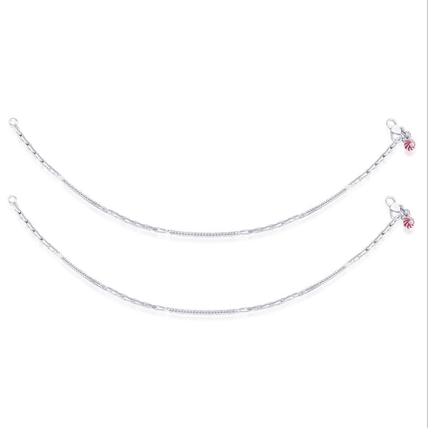 Taraash 925 Sterling Silver Pink Enamel Floral Charms Anklet AN0948S