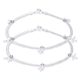 Taraash 925 Sterling Silver Floral Charms Anklet  For Women'S AN0959S