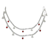 Taraash Sterling Silver Beads With Red Heart Charm Anklet For Women AN0969S