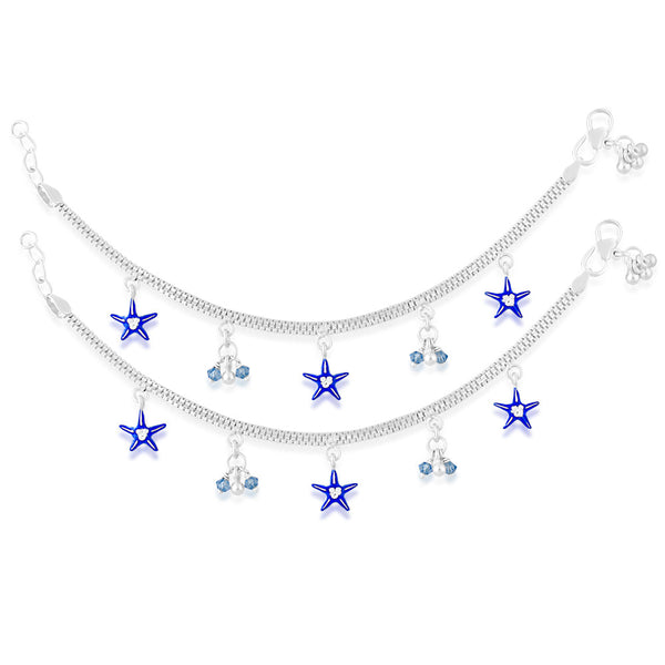 Taraash 925 Sterling Silver Adorable Star & Beads Charm Anklet For Kids AN0987S