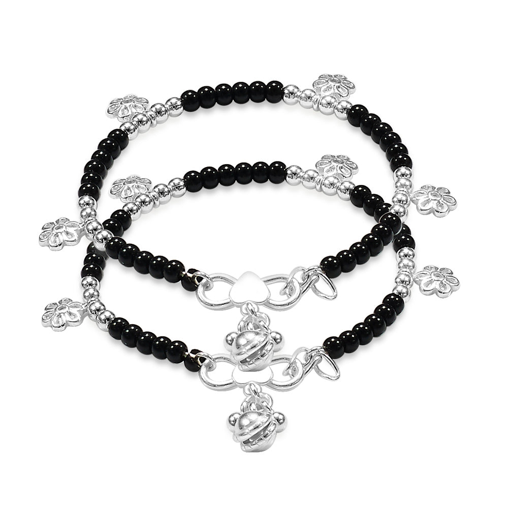 Taraash Sterling Silver Nazariya Anklets with Charm For New Baby Girls