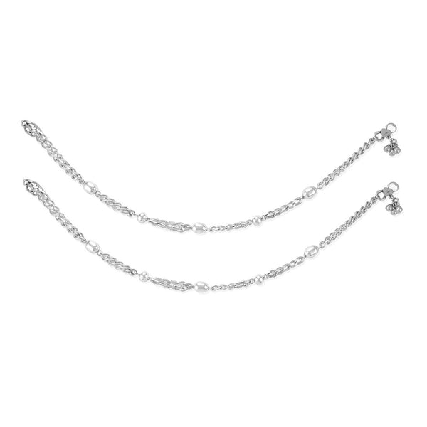 Taraash 925 Silver Beaded Antique Anklet-Payal For Women