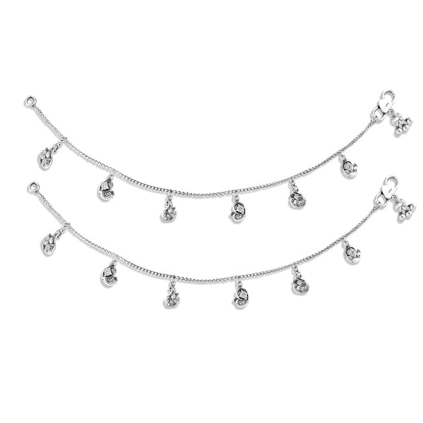 Taraash 925 Cz Peacock Charm Silver Anklets For Women
