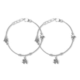 Taraash 925 Sterling Silver Dangling Elephant Charm Anklet For Girls