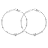 Taraash 925 Sterling Silver Heart Design Anklet For Girl