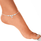 Taraash 925 Sterling Silver Designer Beads Anklet For Women
