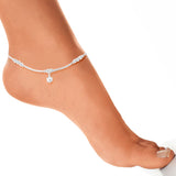 Taraash Sterling Silver Dangling Tortoise Design Anklet For Women