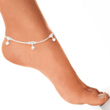 Taraash 925 Silver Fashion Box Chain Anklet For Women
