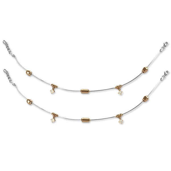 Taraas 925 Silver Rose Gold Plated Beads CZ Anklet For Women