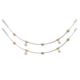Taraash 925 Silver Rose Gold Plated Bead Anklet For Women