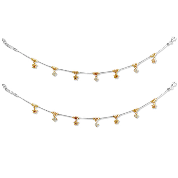 Taraash 925 Silver Flower CZ Rose Gold Plated Anklet For Women