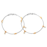 Taraash 925 Silver Fashionable Rose Gold Plated CZ Beads Anklet For Women