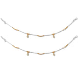 Taraash 925 Silver Dangling CZ Stylish Anklet For Women