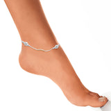 Taraash 925 Silver Round Ball Rose Gold Plated Anklet For Women