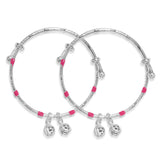 Taraash Sterling Silver Pink Enamel Bangle Set of 2 For Kids BG1325S