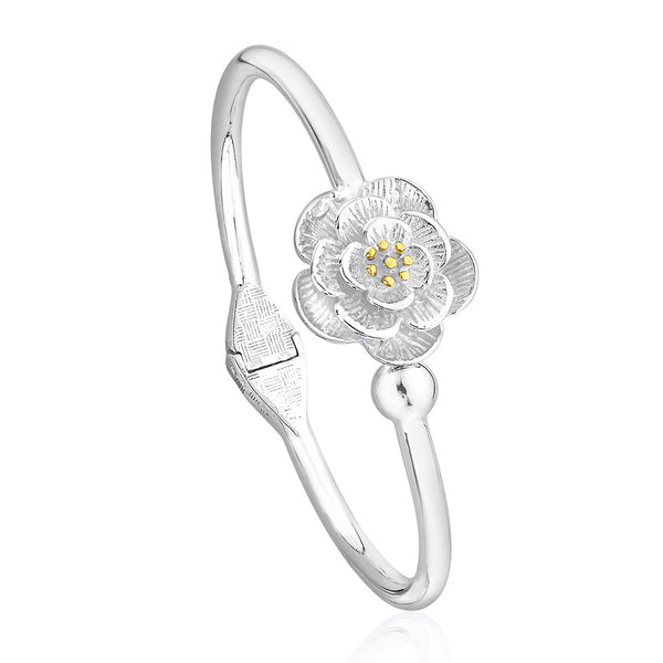 Taraash 990 Sterling Silver Top Openable Floral Bangle BG1434S