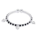 Taraash Sterling Silver Black Beaded Heart Charm Nazriya Bangle Set of Two For Kids BG1536S
