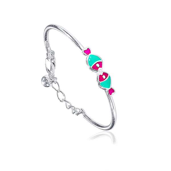 Taraash 925 Sterling Silver Enamel Fish Bangle Set For Kids BG1638S