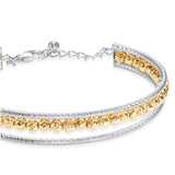 Taraash 925 Sterling Silver Gold Plated Beads Kada Bangle For Women BG1704G
