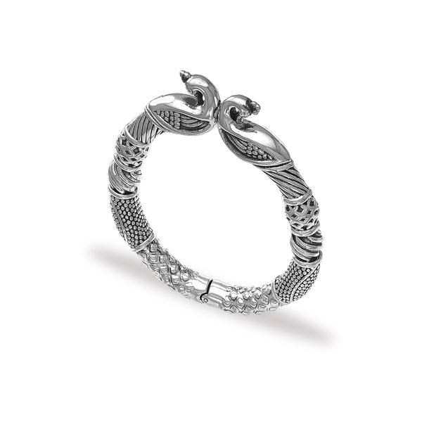 Taraash 925 Silver Antique Peacock Design Bangle for Women