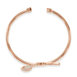 Taraash Sterling Silver With Rose Gold Plating Heart-Key Charm Bangle For Women BGM5024G