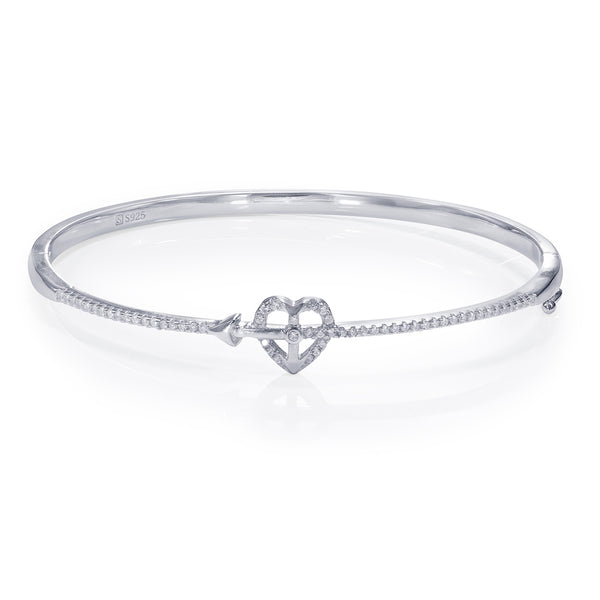 Taraash 925 Sterling Silver White Cz Heart Shape Bangle For Women BGML005