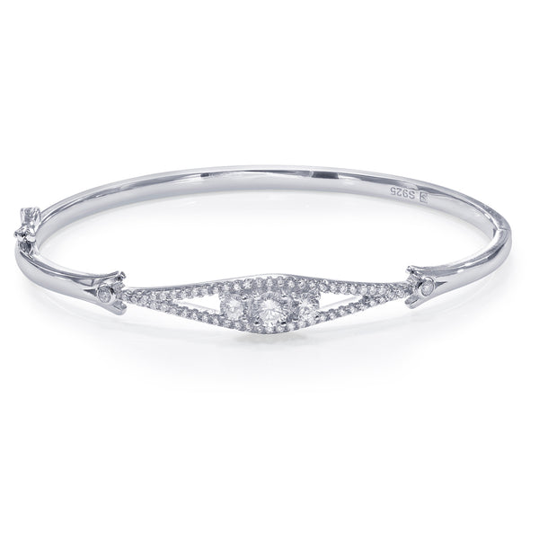 Taraash 925 Sterling Silver White Cz Abstruct Design Bangle For Women BGML008