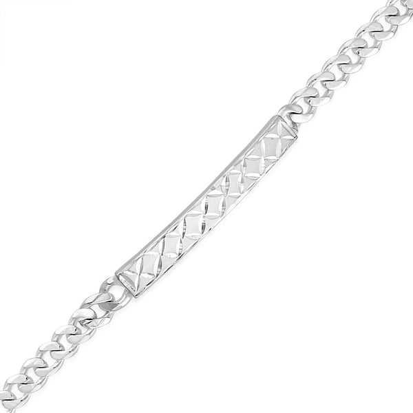 Taraash 925 Sterling Silver Curb Link Diamond Cut Id Bracelet For Men BR1219F