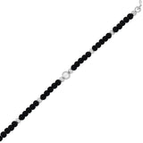 Taraash Sterling Silver Black Beaded Bracelet Nazariya Set For Kids BR1365S-1