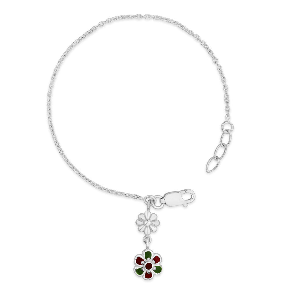 Taraash Sterling Silver Chain With Hanging Charm Bracelet For Girls BR