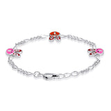 Taraash Sterling Silver Enamel Cute Bunny Charm Bracelet For Kids BR1508S