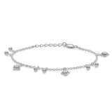 Taraash Sterling Silver Ball With Floral Charm Bracelet For Women / Girls BR1532S