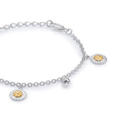 Taraash Sterling Silver Gold Plated Floral Charm Bracelet For Women BR1543S