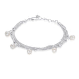 Taraash Sterling Silver Freshwater Pearl Multi Strands Bracelet For Women BR1547S