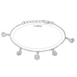 Taraash Sterling Silver Alluring Cz Adorn Peacock Charm Bracelet For Women / Girls BR1587R