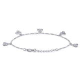 Taraash Sterling Silver Charming CZ Adorn Floral Charm Bracelet For Women / Girls BR1589R